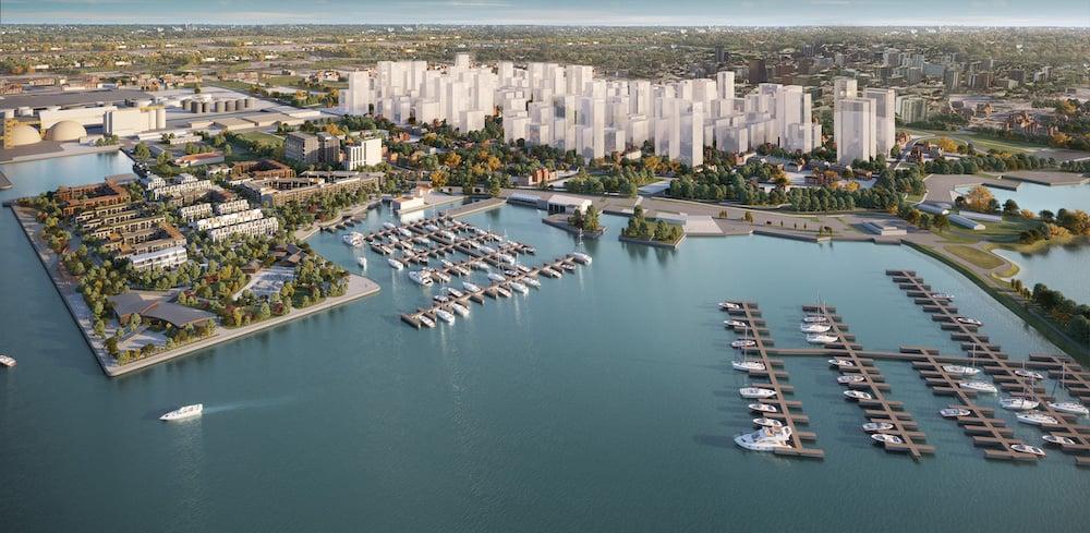 Rendering of 1 Jarvis Condos waterfront redevelopment aerial