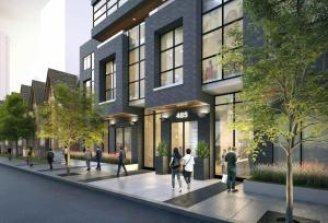 Rendering of 485 Wellington Street West Condos exterior with view of Toronto streetscape