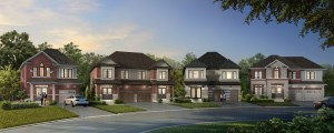 Exterior rendering of Caledon Trails semi's, detached and townhomes