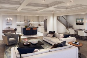 Interior rendering of Caledon Trails suite living area open-concept