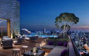 Rendering of E11even Hotel and Residences outdoor terrace at night