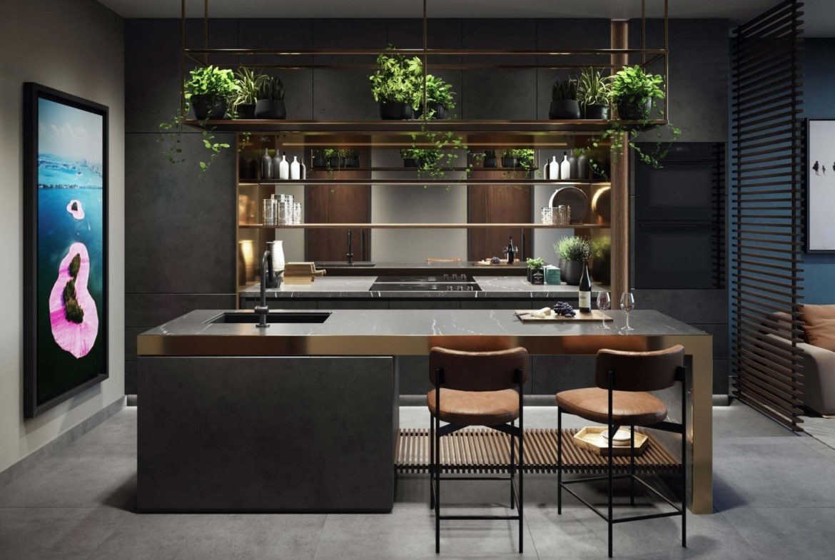 Rendering of E11even Hotel and Residences suite interior kitchen