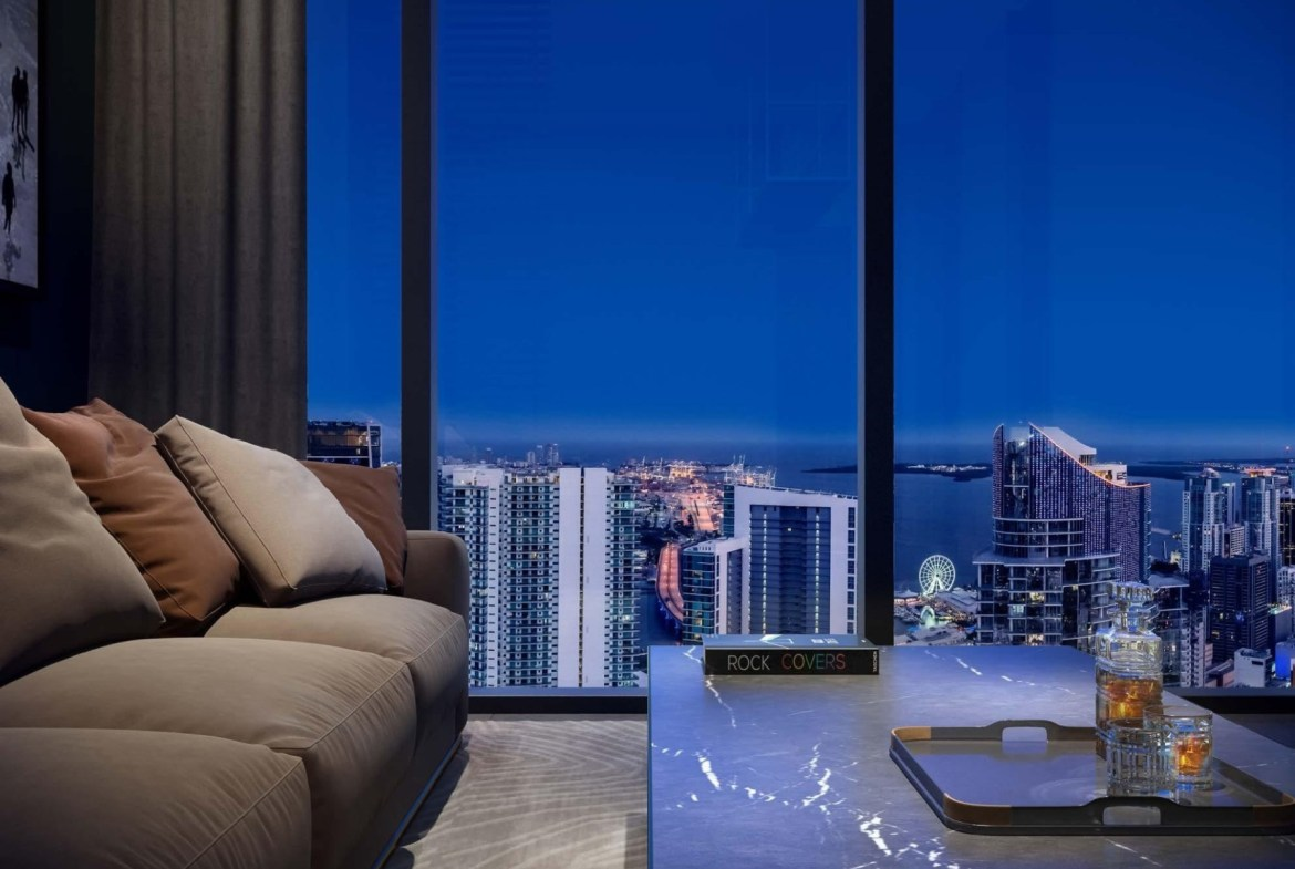 Rendering of E11even Hotel and Residences suite interior view