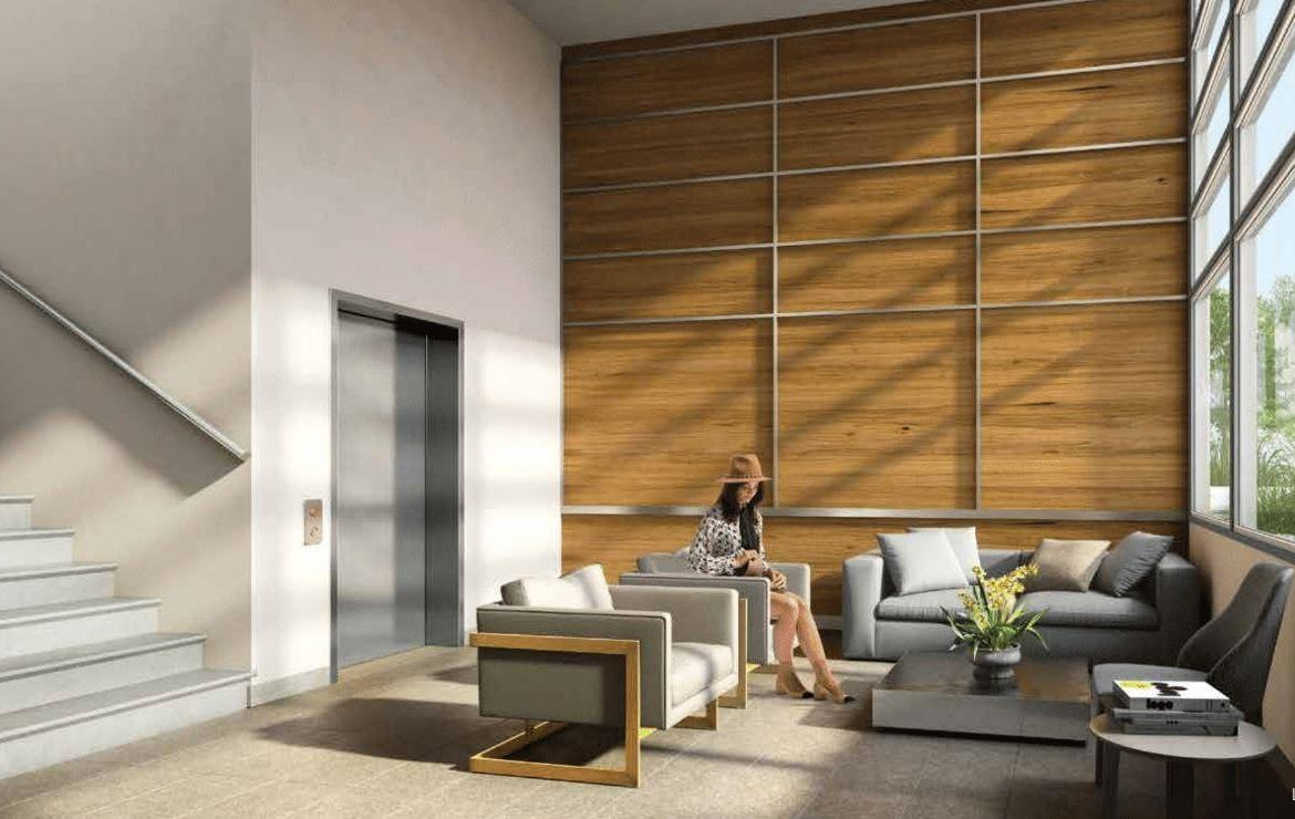Rendering of One Twenty Condos lobby with seating