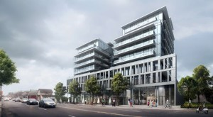 Exterior rendering of Oscar Residences and streetview