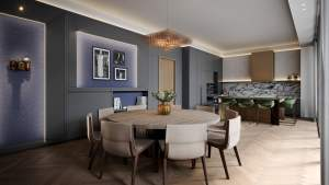 Rendering of Oscar Residences party room