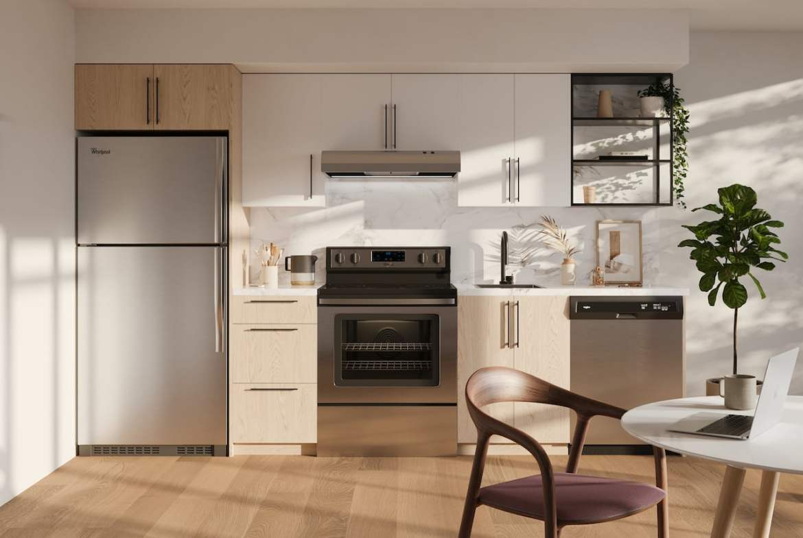 Rendering of Realm Condos suite kitchen light ungraded