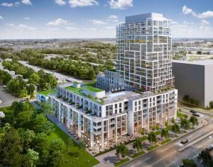Aerial rendering of 9825 Yonge Street Condos in Richmond Hill