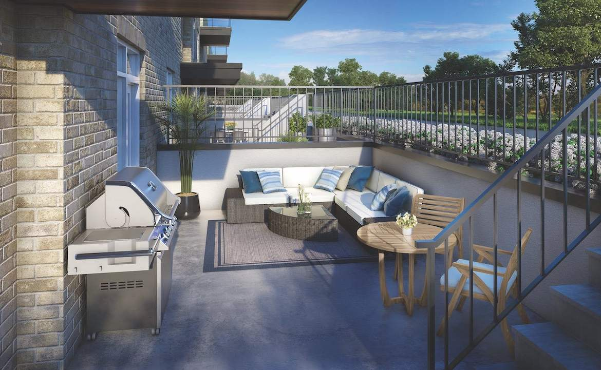 Rendering of The Crawford Urban Towns suite Bronte private outdoor patio
