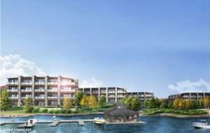 Rendering of Crescent Bay Condos waterfront area with dock