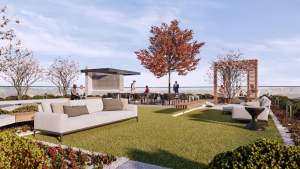 Rendering of Mondria Condos rooftop terrace