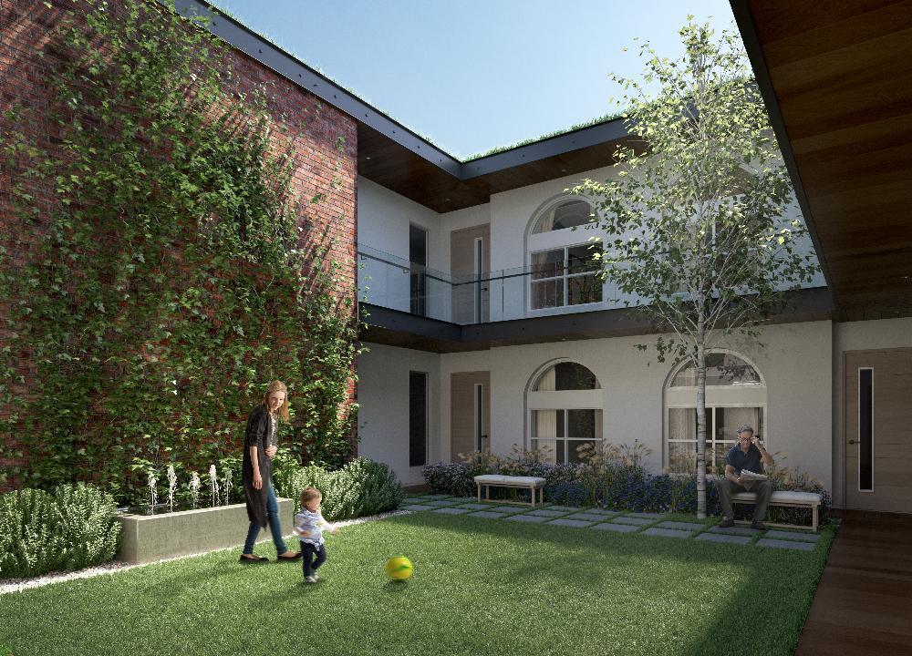 Rendering of The Regent Condos courtyard