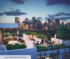 Rendering of The Theodore Condos rooftop terrace with outdoor fireplace