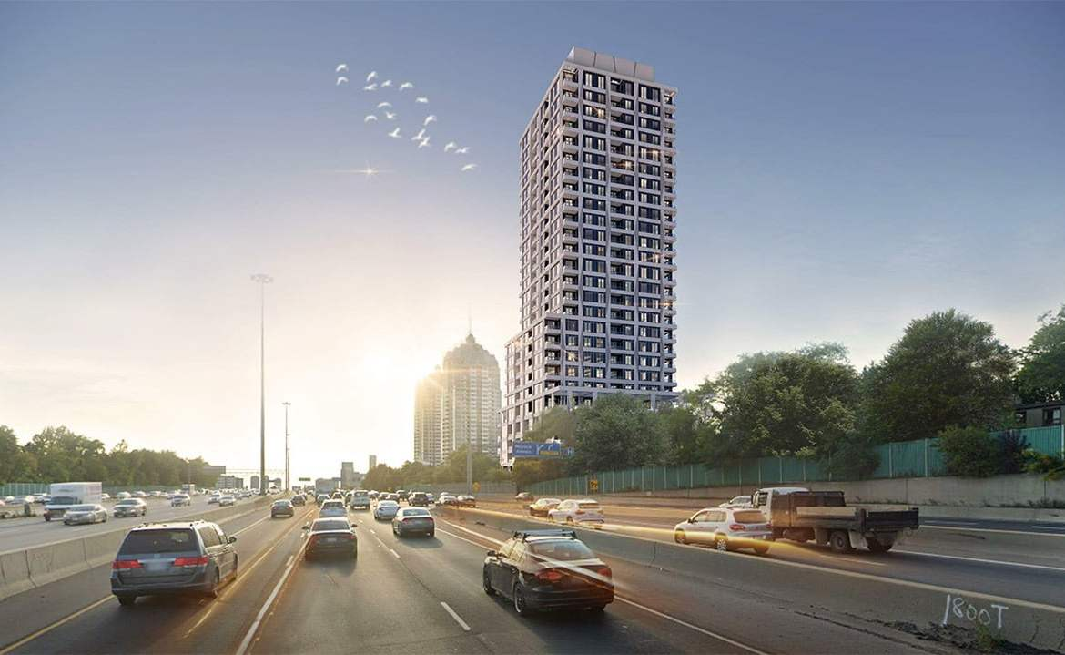 Rendering of 71 Talara Drive Condos and highway nearby