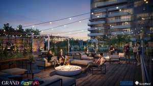 Grand Festival Condos rooftop at night