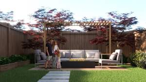 Rendering of Highbury Gardens backyard