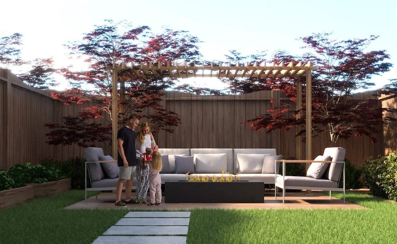 Rendering of Highbury Gardens backyard