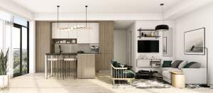 Rendering of House of Assembly Condos interior suite kitchen style A