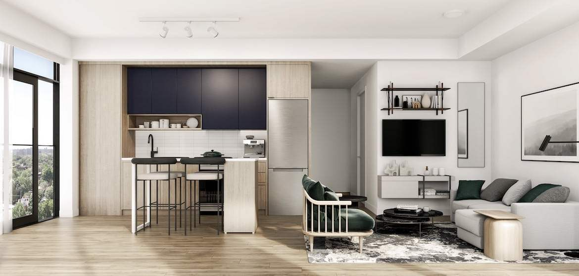 Rendering of House of Assembly Condos interior suite kitchen style B