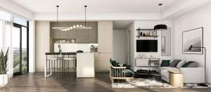 Rendering of House of Assembly Condos interior suite kitchen style C
