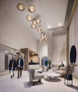 Rendering of House of Assembly Condos Lobby