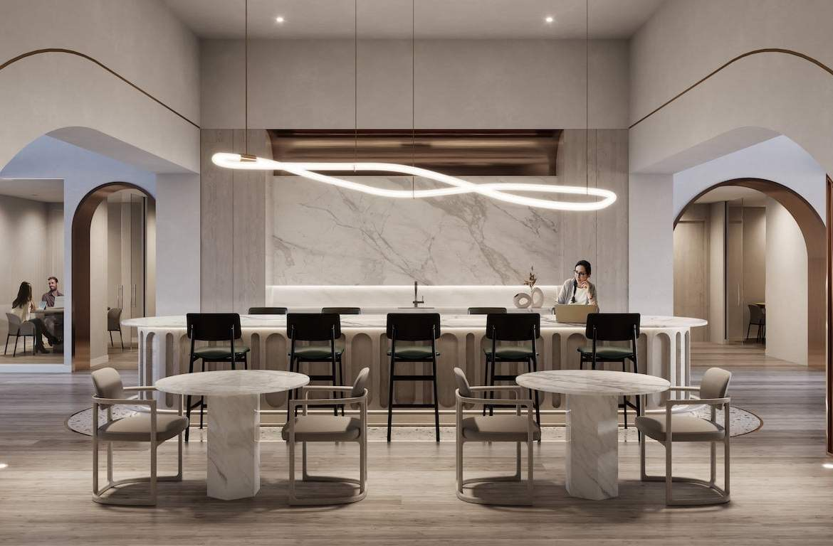 Rendering of House of Assembly Condos social lounge