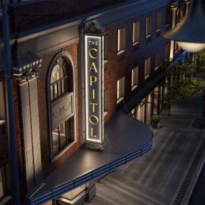 Rendering of The Capitol Condos exterior marquee