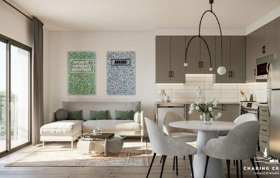 Rendering of Charing Cross Condos suite living and dining