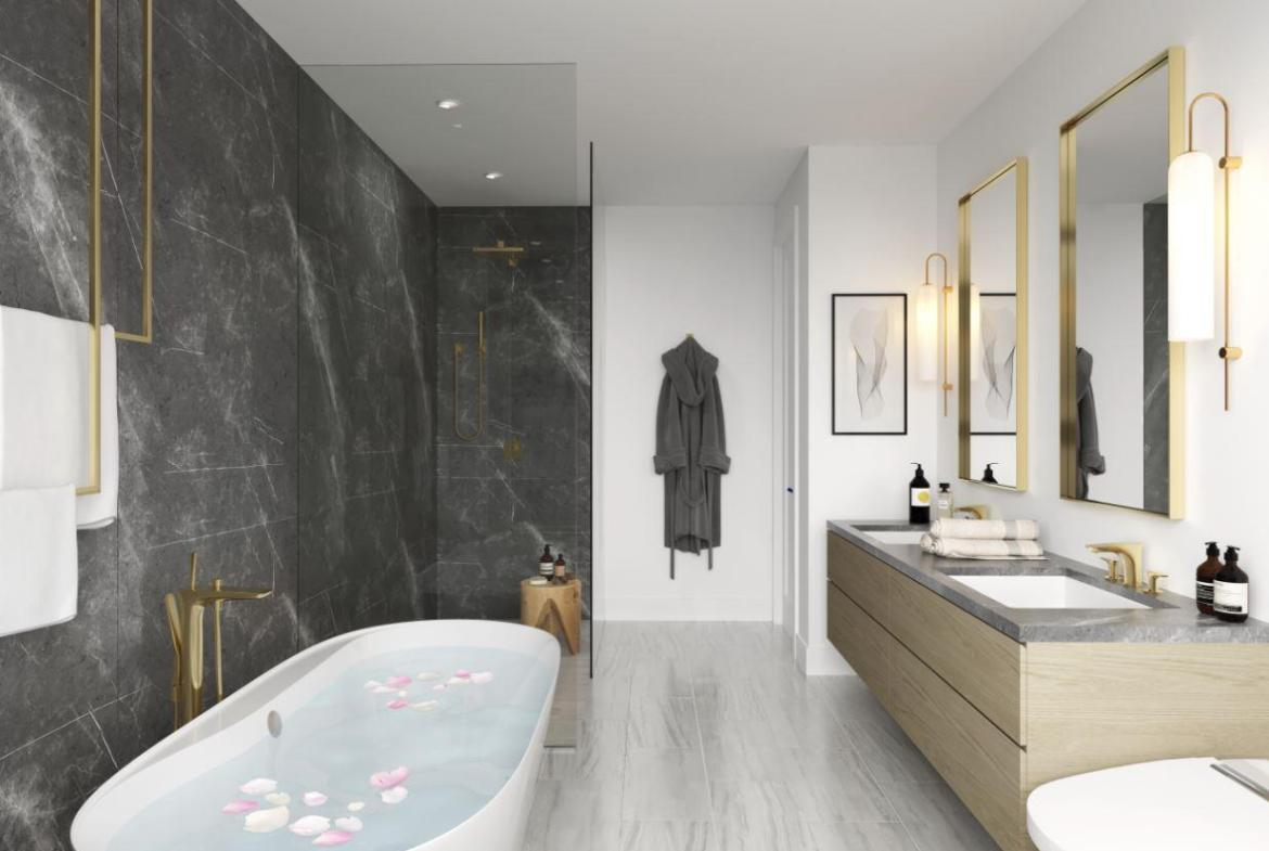 Rendering of Lookout On The Knoll Towns The Ravine Collection interior ensuite bath