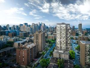 Rendering of NUDE by Battistella Condos aerial view of Downtown Calgary