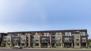 Rendering of Orillia Fresh Towns exterior townhouses
