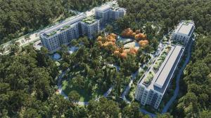 Aerial rendering of Twin Regency Condos