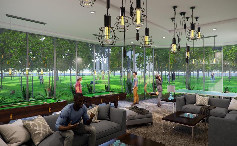 Game room rendering of Twin Regency Condos