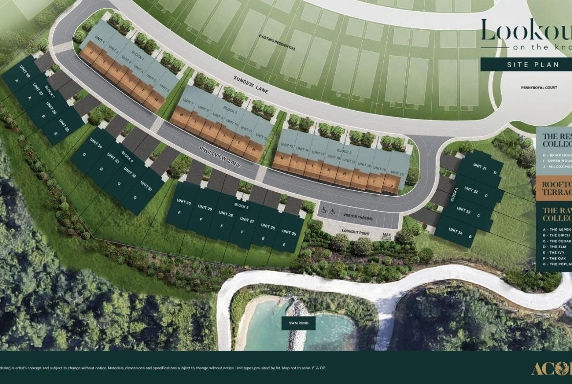 Site plan of Lookout On The Knoll Towns in Richmond Hill
