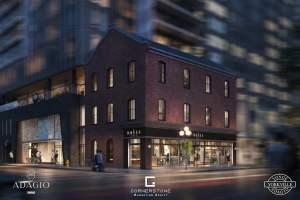 Rendering of Adagio Condos exterior heritage facade