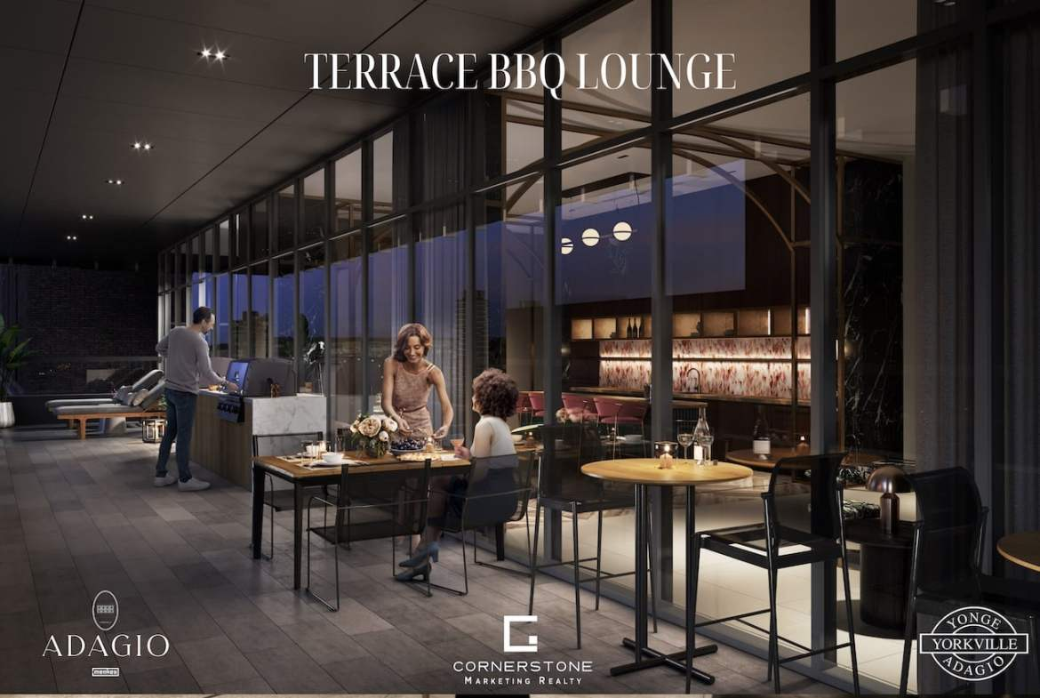 Rendering of Adagio Condos terrace with BBQ and lounge