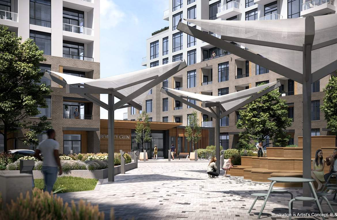 Rendering of Boulevard at the Thornhill community courtyard