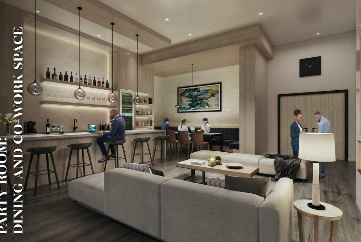 Rendering of Danny Danforth interior party room and co-working space