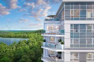 Rendering of LakeVu Two aerial balcony view