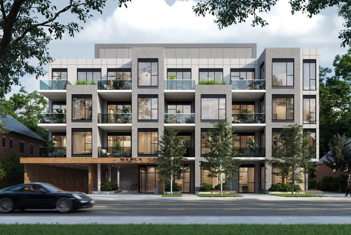 Front view exterior rendering of Marla On The Park Condos in Toronto