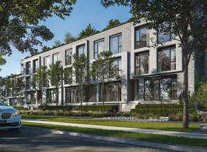 Exterior rendering of Residences on Keewatin Park Towns during the day