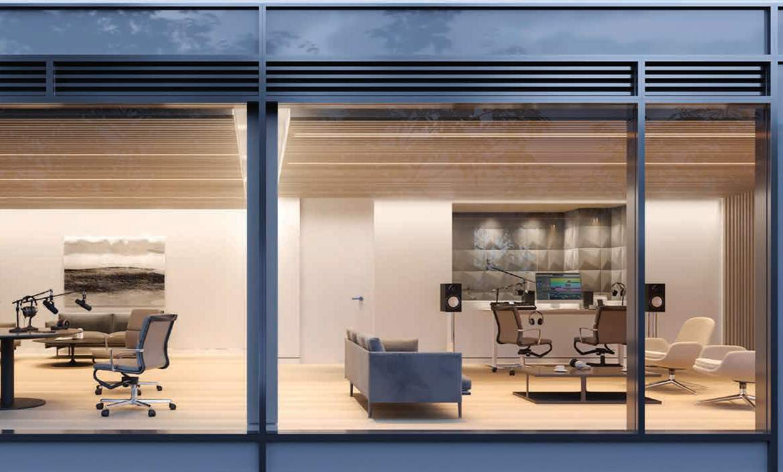 Rendering of 79825 Condos Interior meeting room with studio
