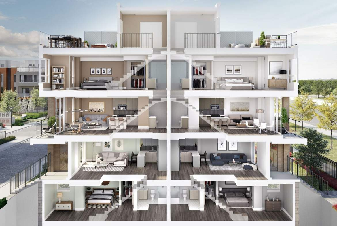 Rendering of Glenway Urban Towns dollhouse view
