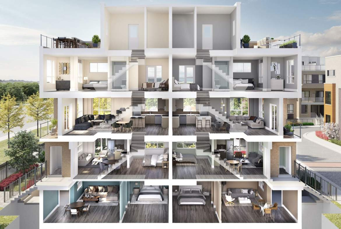Rendering of Glenway Urban Towns doll house view
