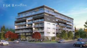 Rendering of Four Sixteen Whitby Condos exterior