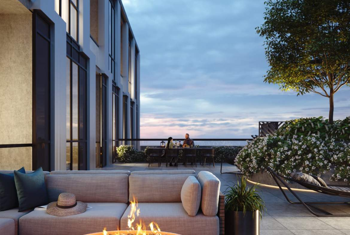 Rendering of Verge Condos exterior terrace with fire pit