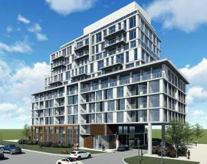 Rendering of 3374 Keele Condos exterior angled view