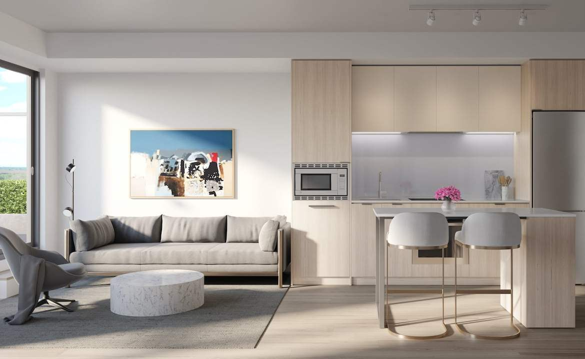 Rendering of Arte Residences kitchen and living with island neige