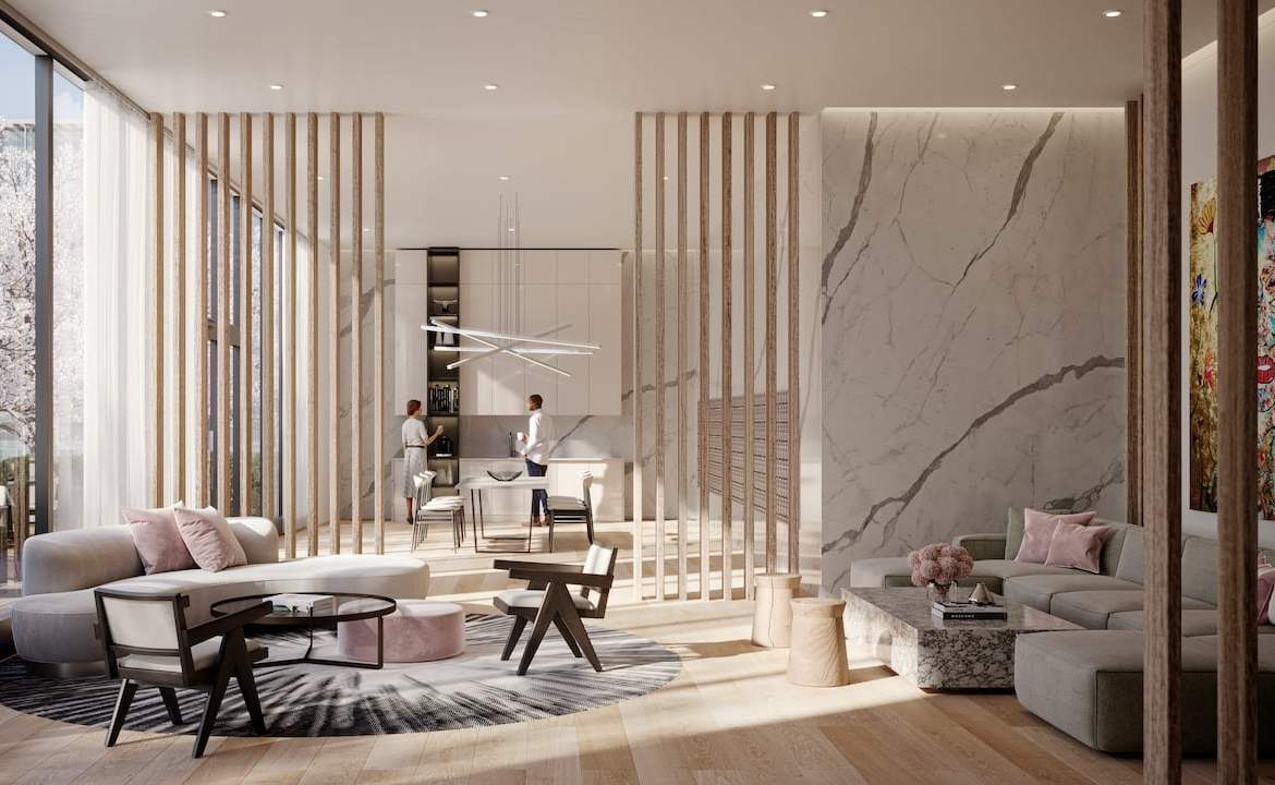 Rendering of Arte Residences lobby with lounge