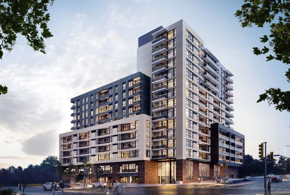 Rendering of ELLE Condos exterior full view in the evening